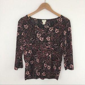 J Jill black pink floral 3/4 T size M